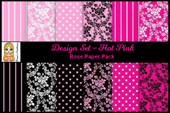 Print on Demand: Hot Pink - Rose Paper Pack Gráfico Fondos Por Aisne