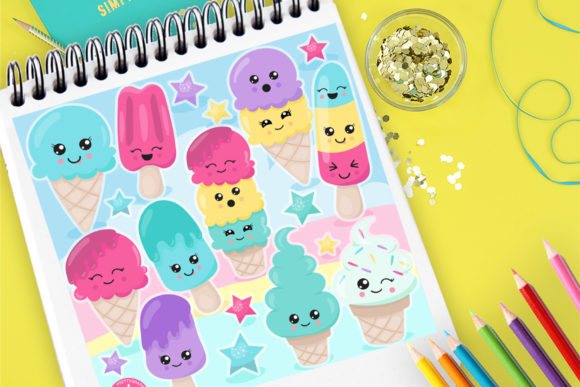 Print on Demand: Ice Cream Friends Graphic Illustrations By Prettygrafik