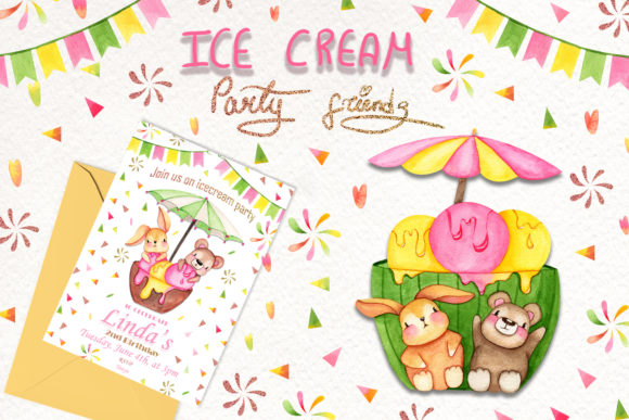 Print on Demand: Tiere: Ice Cream Party Friends Grafik Illustrationen von tanatadesign