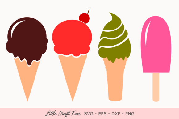Download Free Ice Cream Ice Cream Chocolate Graphic By Little Craft Fun for Cricut Explore, Silhouette and other cutting machines.