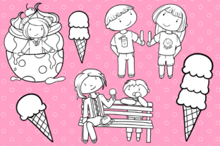 Print on Demand: Ice Cream Truck (Black and White) Graphic Illustrations By Keepinitkawaiidesign 3