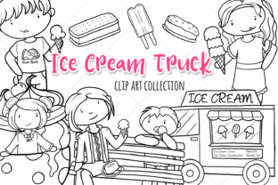 Print on Demand: Ice Cream Truck (Black and White) Graphic Illustrations By Keepinitkawaiidesign 1