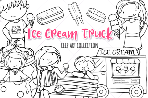 Download Free Ice Cream Truck Black And White Graphic By for Cricut Explore, Silhouette and other cutting machines.