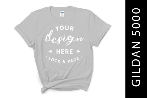 Download Free Ice Grey Gildan 5000 T Shirt Mockup Graphic By Lockandpage for Cricut Explore, Silhouette and other cutting machines.