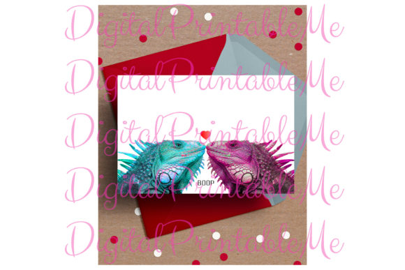 Iguana Card, Valentine's Day Card Love Graphic By DigitalPrintableMe