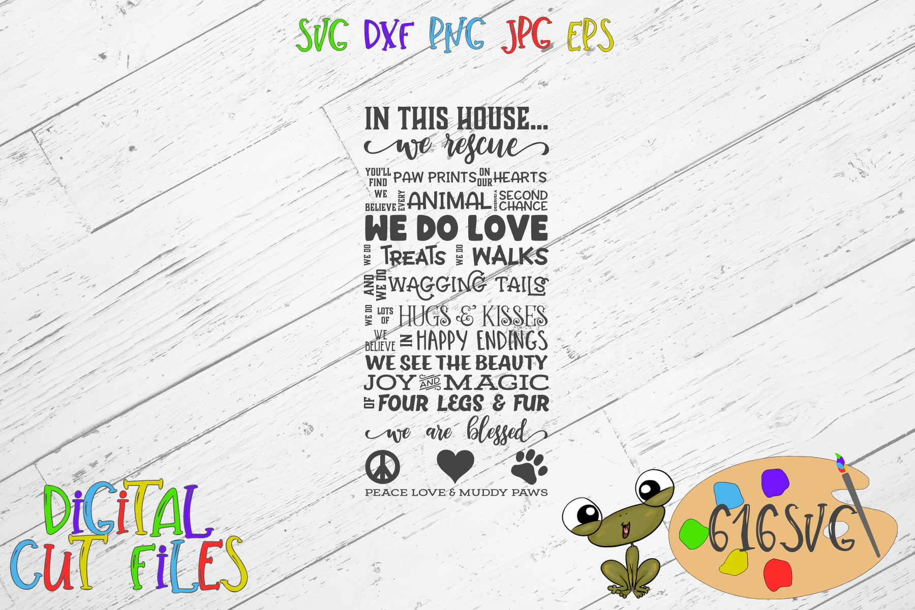 Download Free In This House Rescue Dog Svg Graphic By 616svg Creative Fabrica for Cricut Explore, Silhouette and other cutting machines.