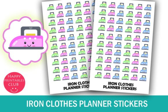 Print on Demand: Iron Laundry Clothes Planner Stickers Graphic Illustrations By Happy Printables Club