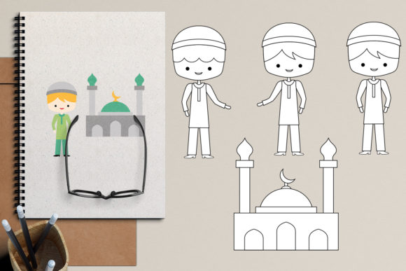 Download Free Islam Muslim Boys Graphic By Revidevi Creative Fabrica for Cricut Explore, Silhouette and other cutting machines.