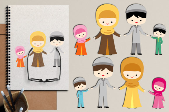 Download Free Islamic Muslim Family Graphic By Revidevi Creative Fabrica for Cricut Explore, Silhouette and other cutting machines.