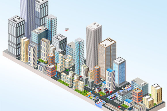 Download Free Isometric In A Big City Graphic By Alexzel Creative Fabrica for Cricut Explore, Silhouette and other cutting machines.
