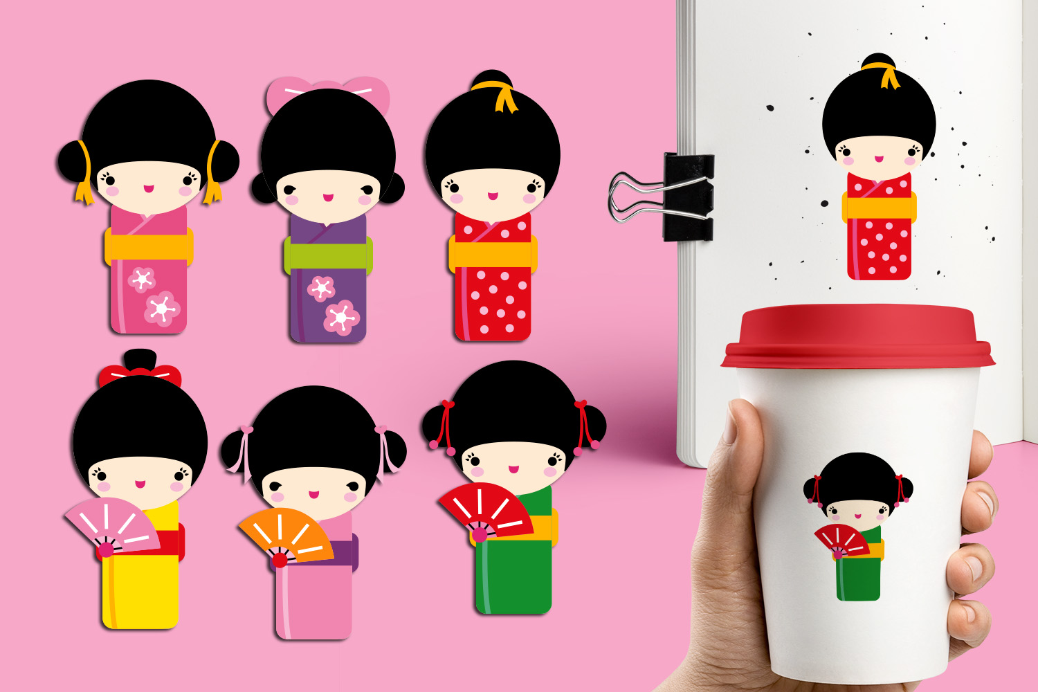 Download Free Japan Kokeshi Kimono Dolls Graphic By Revidevi Creative Fabrica for Cricut Explore, Silhouette and other cutting machines.