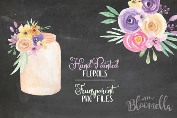 Jars and Flowers Watercolor Set Painted