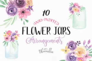 Jars and Flowers Watercolor Set Painted Graphic By Bloomella