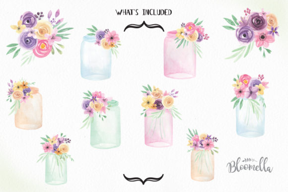 Jars and Flowers Watercolor Set Painted Graphic Illustrations By Bloomella - Image 5