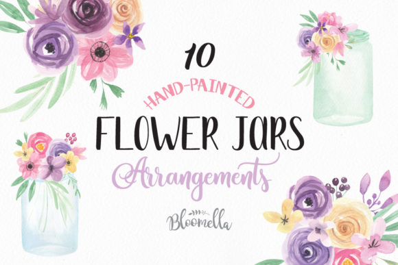 Jars and Flowers Watercolor Set Painted Graphic Illustrations By Bloomella - Image 1