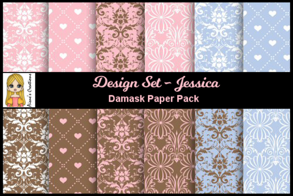 Jessica - Damask Paper Pack Graphic By Aisne