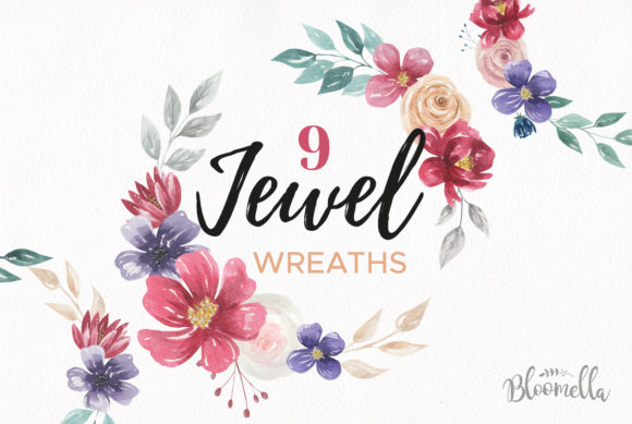 Jewel 9 Flower Wreaths Floral Tones Graphic Illustrations By Bloomella