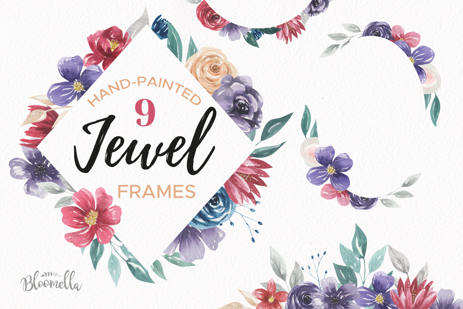 Download Free Jewel Watercolor Frames Painted Flowers Graphic By Bloomella for Cricut Explore, Silhouette and other cutting machines.