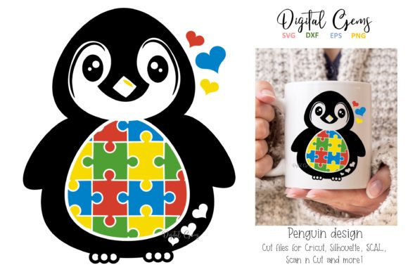 Jigsaw Autism Penguin Design Graphic Crafts By Digital Gems