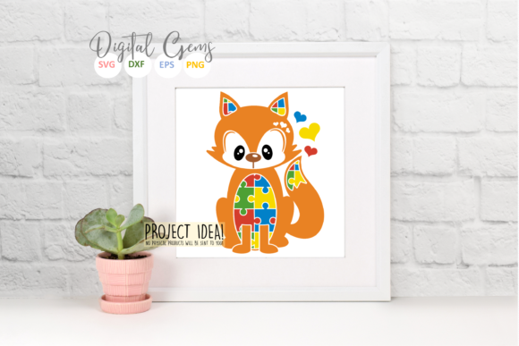 Download Free Jigsaw Fox Autism Design Graphic By Digital Gems Creative for Cricut Explore, Silhouette and other cutting machines.