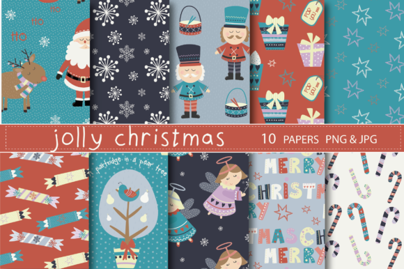 Print on Demand: Jolly Christmas Time Paper Graphic Patterns By poppymoondesign