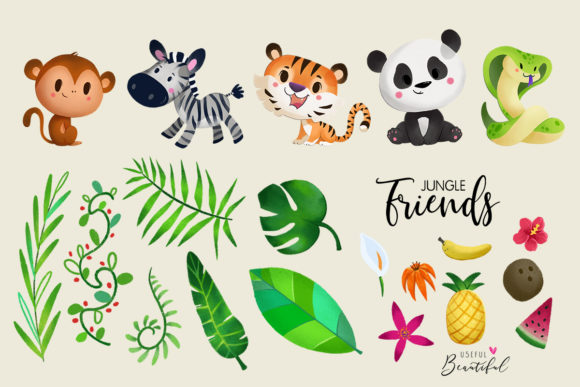 Jungle Friends Clipart Collection 01 Graphic By usefulbeautiful Image 2