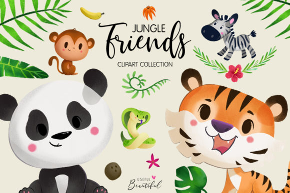 Jungle Friends Clipart Collection 01 Graphic Illustrations By usefulbeautiful