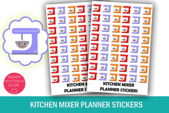 Print on Demand: Kawai Kitchen Mixer Planner Stickers Graphic Crafts By Happy Printables Club