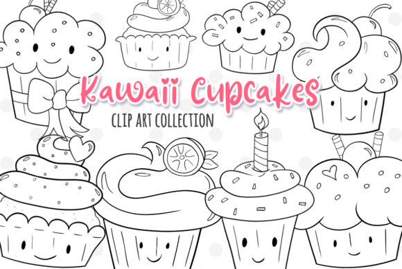 Print on Demand: Kawaii Cupcakes (Black and White) Graphic Illustrations By Keepinitkawaiidesign