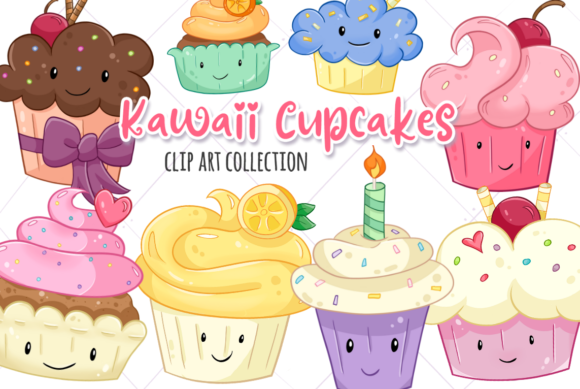 Print on Demand: Kawaii Cupcakes Grafik Illustrationen von Keepinitkawaiidesign