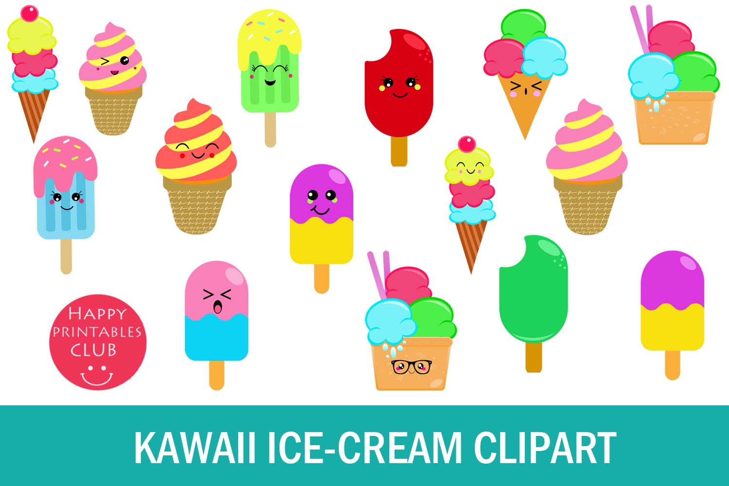 Kawaii Ice Cream Clipart Graphics Graphic by Happy ...