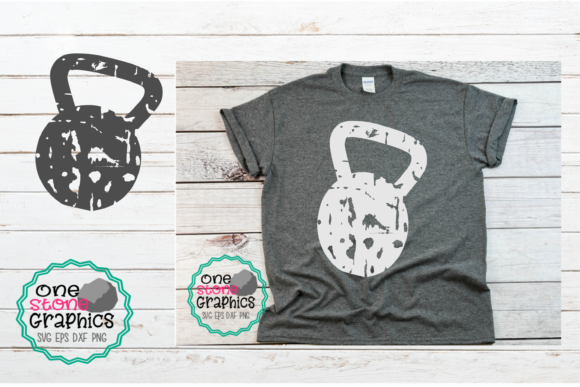 Download Free Kettle Bell Grunge Kettle Bell Graphic By Onestonegraphics for Cricut Explore, Silhouette and other cutting machines.