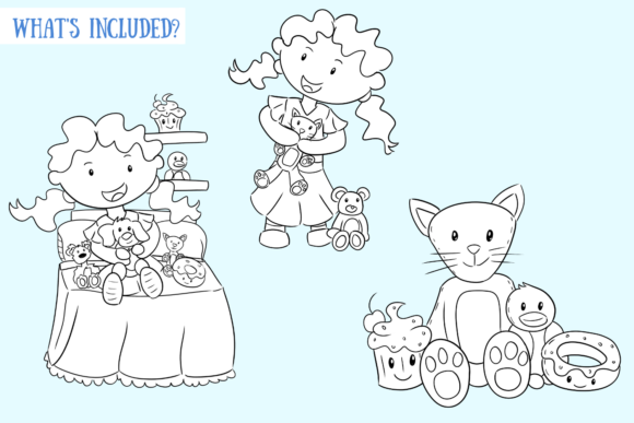 Download Free Kids Collecting Things Black And White Graphic By for Cricut Explore, Silhouette and other cutting machines.
