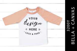 Kids Heather Peach Bella Canvas 3200Y Graphic Product Mockups By lockandpage