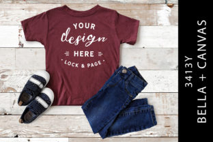 Kids Maroon Triblend Bella Canvas 3413Y Graphic Product Mockups By lockandpage