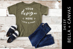 Kids Olive Triblend Bella Canvas 3413Y Graphic Product Mockups By lockandpage