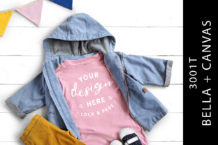 Kid's Pink Bella Canvas 3001T Tee Mockup Graphic Product Mockups By lockandpage