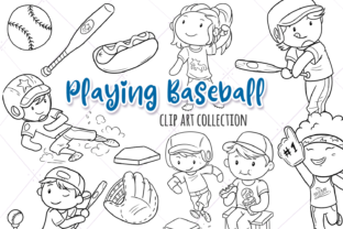 Print on Demand: Kids Playing Baseball (Black and White) Graphic Illustrations By Keepinitkawaiidesign