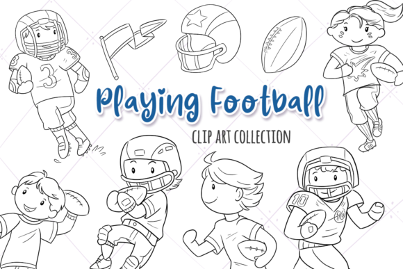 Print on Demand: Kids Playing Football (Black and White) Graphic Illustrations By Keepinitkawaiidesign