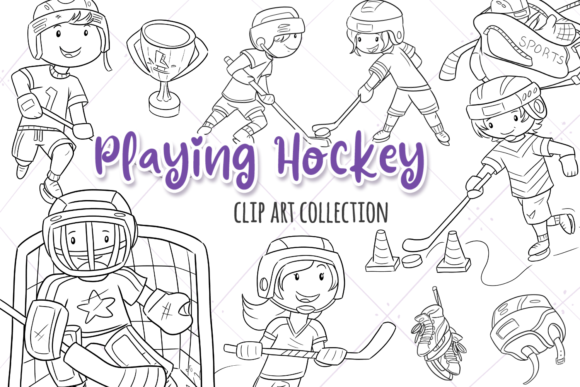 Print on Demand: Kids Playing Hockey (Black and White) Graphic Illustrations By Keepinitkawaiidesign