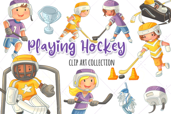 Print on Demand: Kids Playing Hockey Graphic Illustrations By Keepinitkawaiidesign