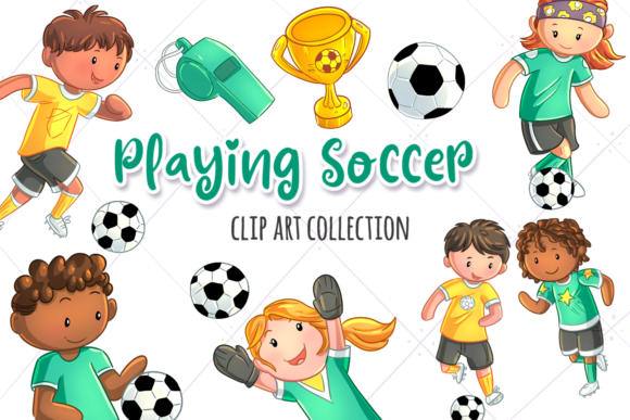 Print on Demand: Kids Playing Soccer Graphic Illustrations By Keepinitkawaiidesign