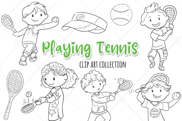 Print on Demand: Kids Playing Tennis (Black and White) Graphic Illustrations By Keepinitkawaiidesign