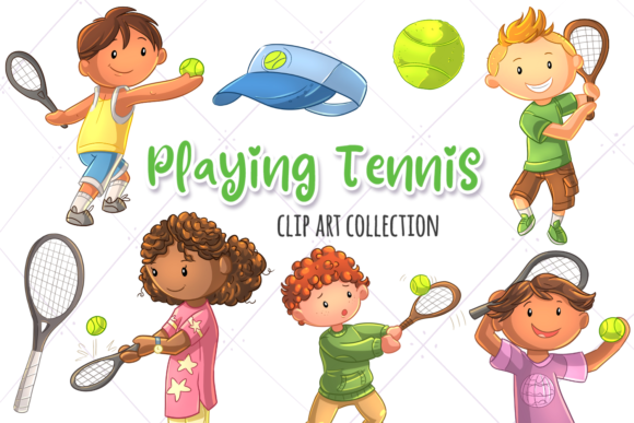 Download Free Kids Playing Tennis Graphic By Keepinitkawaiidesign Creative for Cricut Explore, Silhouette and other cutting machines.