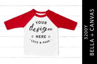 Kids Red Bella Canvas 3200Y Tee Mockup Graphic Product Mockups By lockandpage