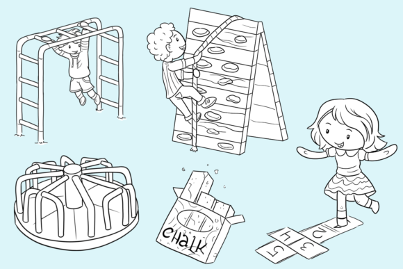 Download Free Kids On The Playground Black And White Graphic By for Cricut Explore, Silhouette and other cutting machines.