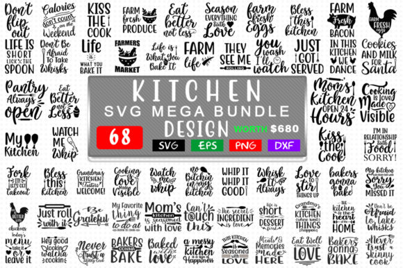 Download Free Kitchen Mega Bundle Graphic By Handmade Studio Creative Fabrica for Cricut Explore, Silhouette and other cutting machines.