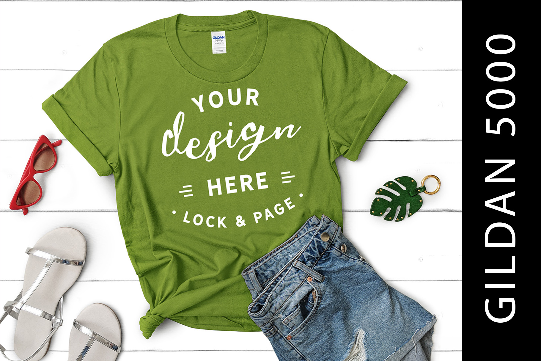 Download Free Kiwi Gildan 5000 Knotted T Shirt Mockup Graphic By Lockandpage for Cricut Explore, Silhouette and other cutting machines.