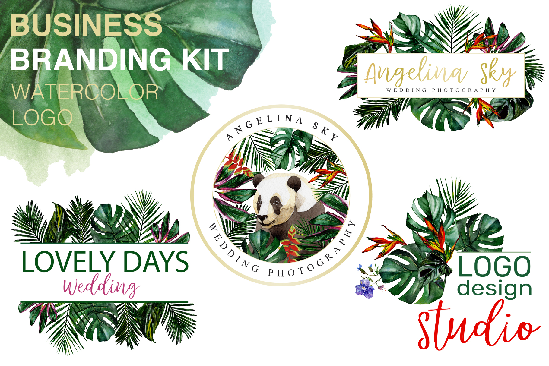 Download Free Logo In Tropical Style Watercolor Graphic By Mystocks Creative for Cricut Explore, Silhouette and other cutting machines.