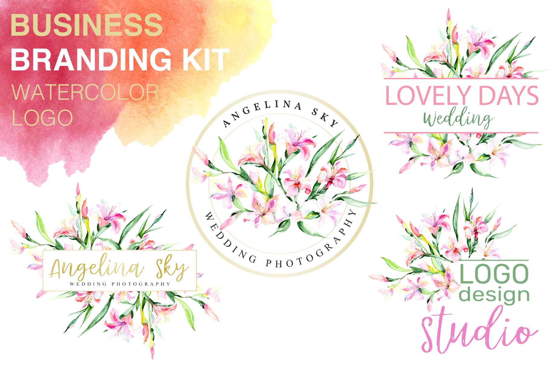 Download Free Logo With Alstroemerias Watercolor Png Graphic By Mystocks for Cricut Explore, Silhouette and other cutting machines.